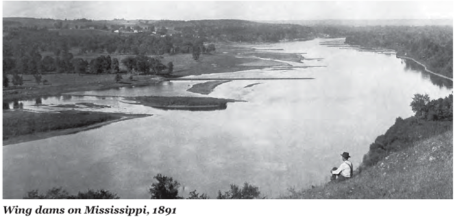Wing dams on Mississippi, 1891